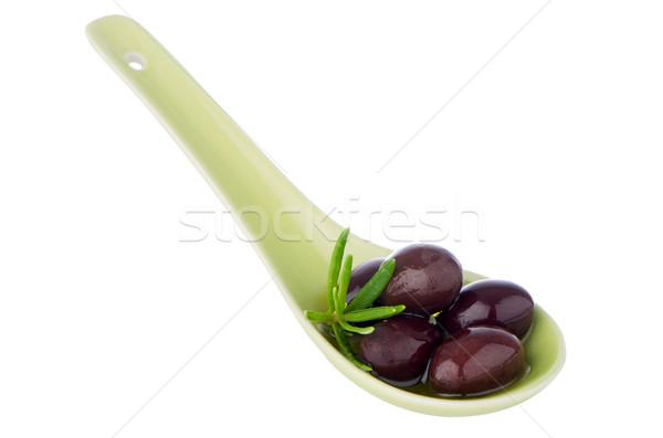 Сток-фото: оливками · керамической · ложку · базилик · оливкового · масла · продовольствие