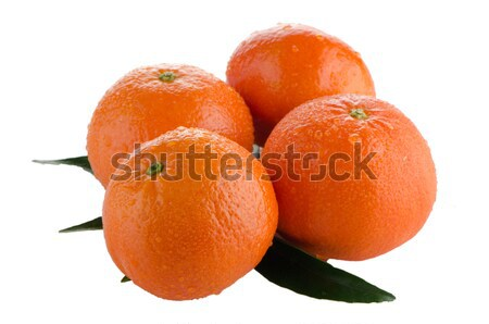 Rijp mandarijn- geïsoleerd witte voedsel blad Stockfoto © homydesign