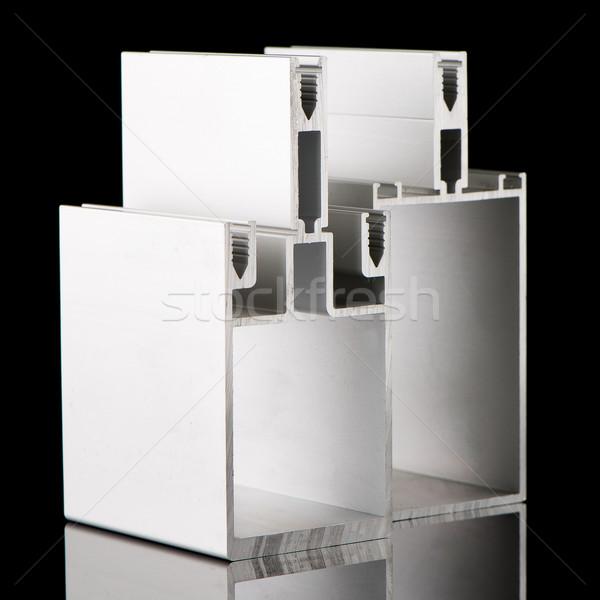Stockfoto: Aluminium · profiel · monster · geïsoleerd · zwarte · gebouw