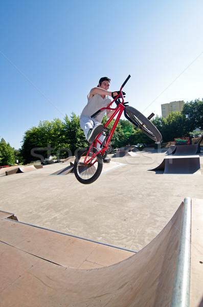 Bicikli szenzáció bár pörgés előad cső Stock fotó © homydesign