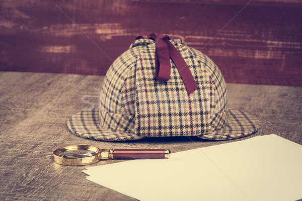 Sherlock Hat and magnifying glass Stock photo © homydesign