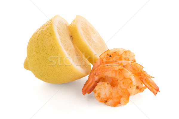 Shrimp with lime Stock photo © homydesign