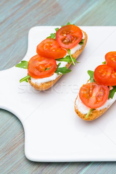 брускетта творог помидоров служивший белый продовольствие Сток-фото © homydesign