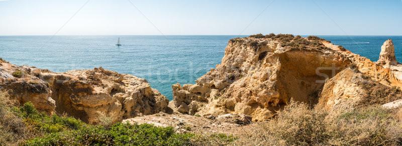 Rocky coastline near Carvoeiro Stock photo © homydesign