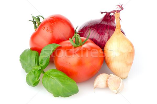 Gıda malzemeler domates sarımsak fesleğen yalıtılmış Stok fotoğraf © homydesign