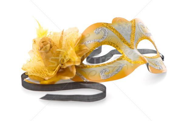 Citromsárga velencei maszk buli fehér kéz szemek Stock fotó © homydesign