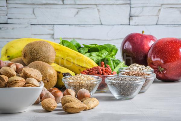 Saudável vegan comida cinza cópia espaço nozes Foto stock © homydesign