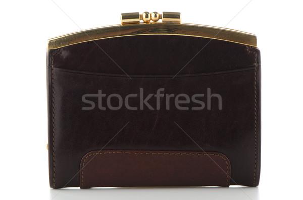 коричневый кожа кошелька изолированный белый деньги Сток-фото © homydesign