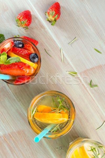 Detoxikáló víz koktélok fa asztal étel természet Stock fotó © homydesign