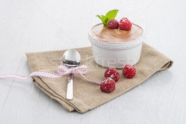 Paleo dieta estilo sobremesa chocolate escuro ovos Foto stock © homydesign