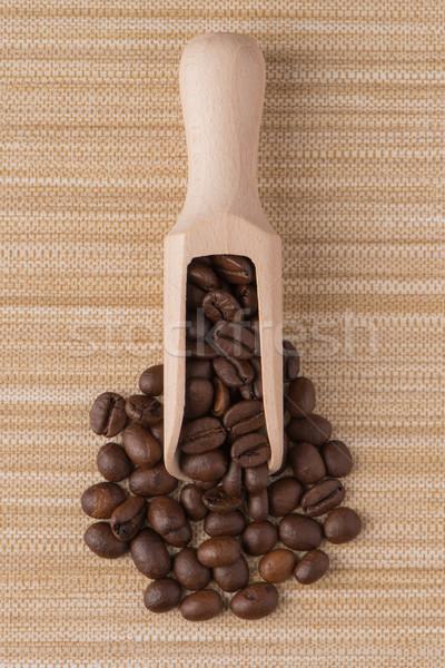 Fából készült merítőkanál kávé felső kilátás bézs Stock fotó © homydesign