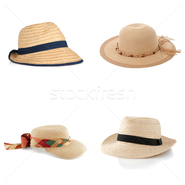 Set of four straw hats Stock photo © homydesign