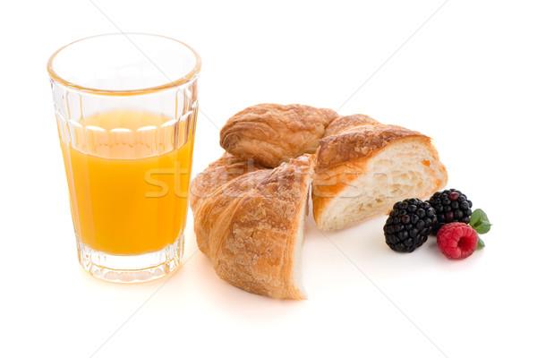 Stockfoto: Croissant · frambozen · bramen · glas · sinaasappelsap · vers