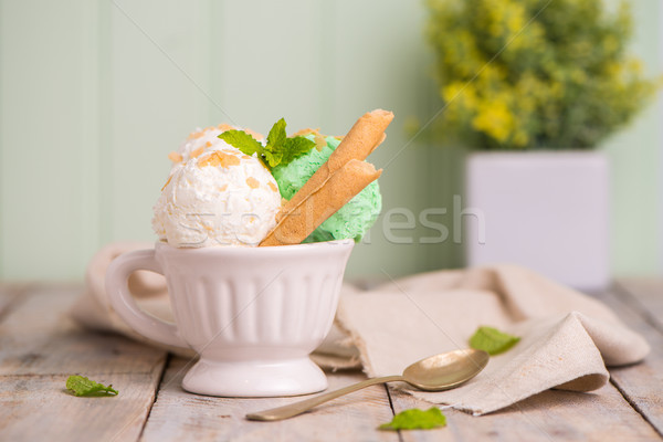 Vanilla and mint ice cream in cup Stock photo © homydesign