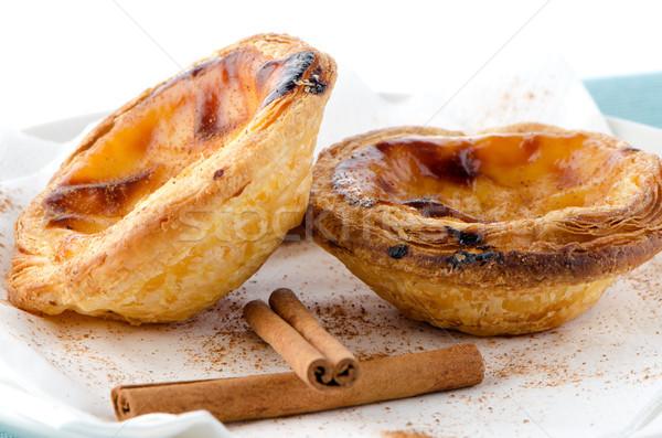 Pasztell tipikus sütemény Lisszabon étel űr Stock fotó © homydesign