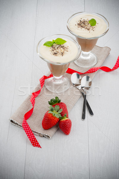 Chocolate mousse and strawberries Stock photo © homydesign