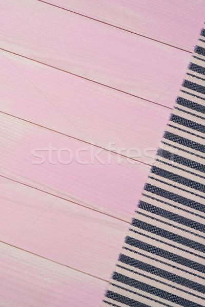 Blauw handdoek tabel gestreept oppervlak houten tafel Stockfoto © homydesign