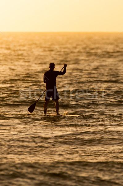 Homme ouvrir eau coucher du soleil nature mer Photo stock © homydesign