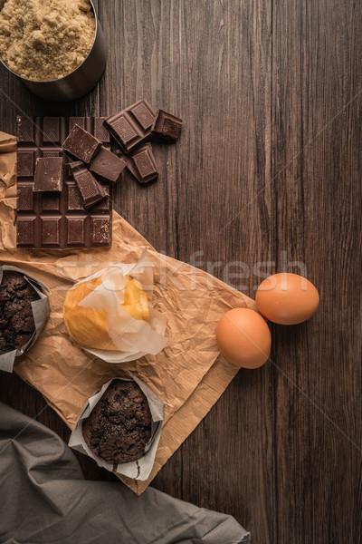 Heerlijk eigengemaakt muffins chocolade ingrediënten Stockfoto © homydesign
