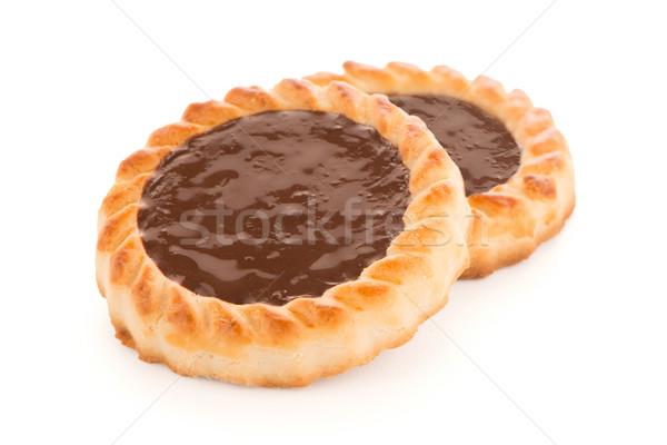 Chocolate tarta cookies delicioso blanco postre Foto stock © homydesign