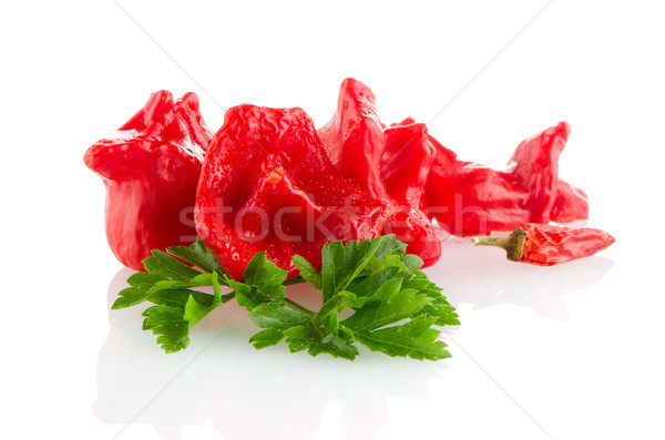 Rouge poivrons blanche alimentaire groupe Photo stock © homydesign