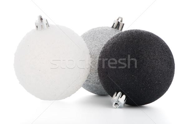 Stock fotó: Karácsony · dekoratív · golyók · fehér · fény · kék
