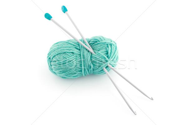 Green knitting wool Stock photo © homydesign