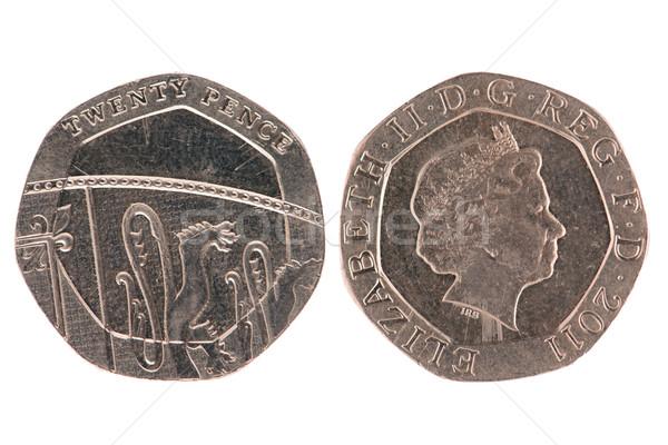 Foto stock: Vinte · moeda · isolado · branco · negócio · banco