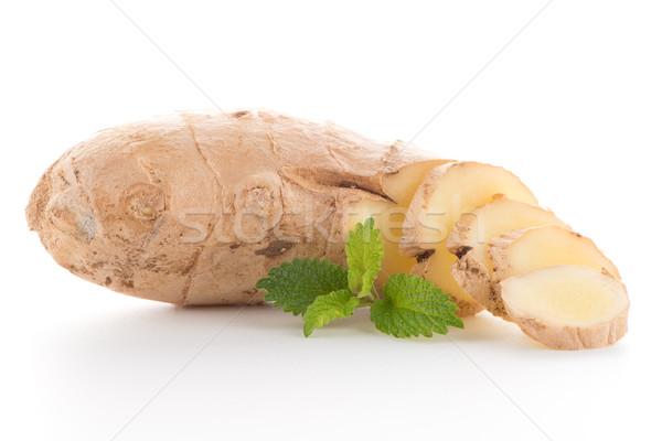 Jengibre raíz blanco aislado alimentos fondo Foto stock © homydesign
