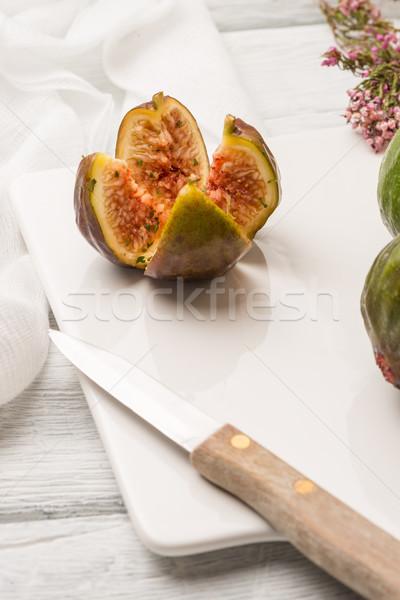 Méz fa asztal szelektív fókusz fa gyümölcs üveg Stock fotó © homydesign