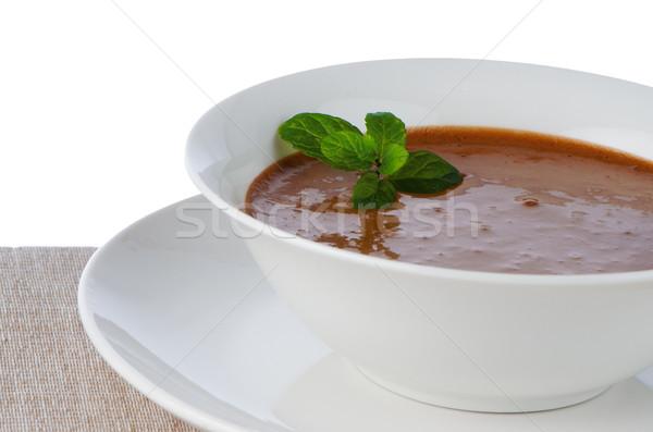 Mus czekoladowy biały kubek mięty pozostawia żywności Zdjęcia stock © homydesign