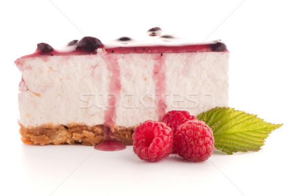 Sernik plaster biały żywności ciasto czerwony Zdjęcia stock © homydesign