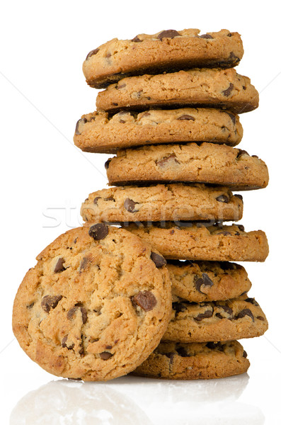 Chocolate chip cookies aislado blanco fondo Foto stock © homydesign