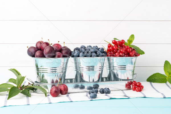 Plums, red currants and blueberries in small metal bucket Stock photo © homydesign