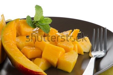 Manga fruto marrom prato branco comida Foto stock © homydesign
