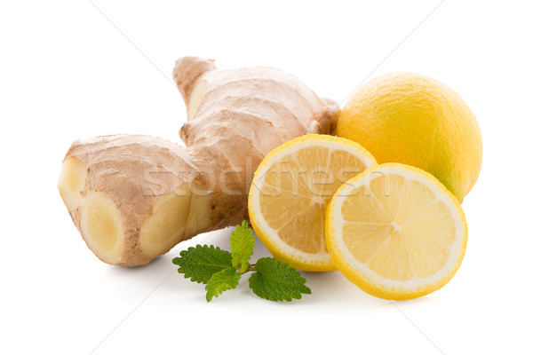 Stock photo: Ginger root and lemon slice