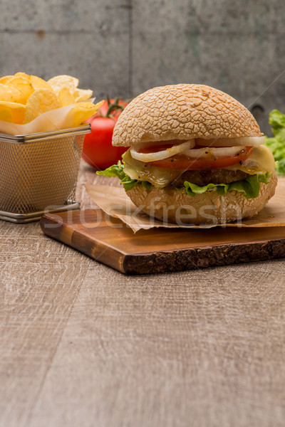 Homemade veggie burger Stock photo © homydesign