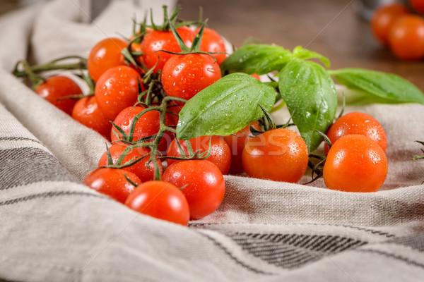 Small red cherry tomatoes Stock photo © homydesign