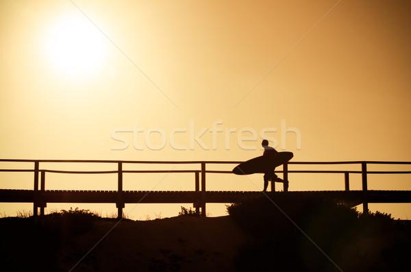 Сток-фото: Surfer · работает · пляж · закат · Португалия · воды