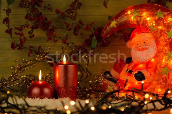 Two candles Christmas decoration Stock photo © homydesign