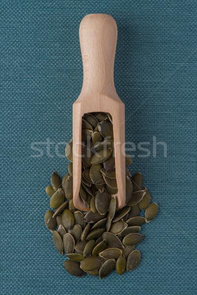 Fából készült merítőkanál sütőtök magok felső kilátás Stock fotó © homydesign