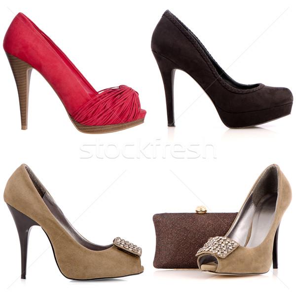 Four female high-heeled shoes Stock photo © homydesign