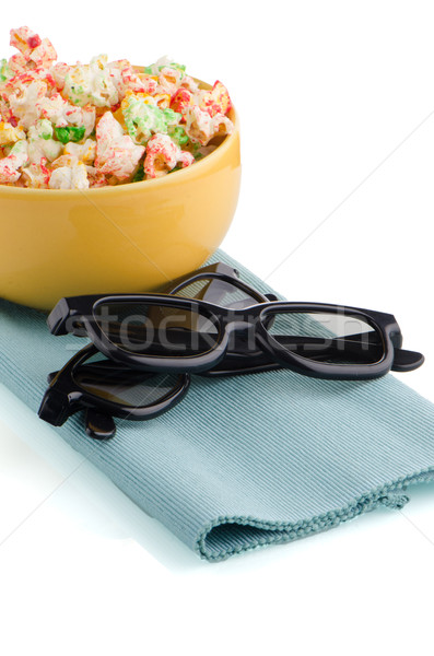 Bowl of popcorn and 3D movie glasses Stock photo © homydesign