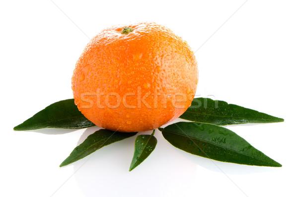 Fraîches orange mandarin isolé blanche alimentaire Photo stock © homydesign