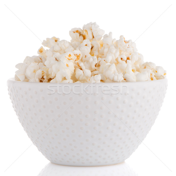 Popcorn blanche bol alimentaire télévision amusement Photo stock © homydesign