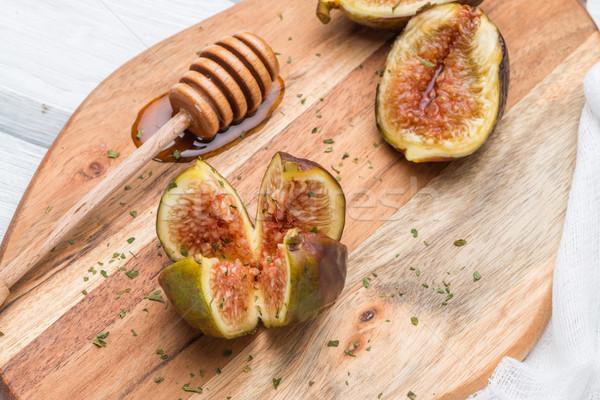 Honig Holztisch selektiven Fokus Holz Obst Glas Stock foto © homydesign
