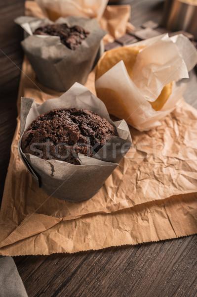 Finom házi készítésű muffinok csokoládé sütés hozzávalók Stock fotó © homydesign