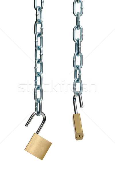 Two open padlock and chain  Stock photo © homydesign