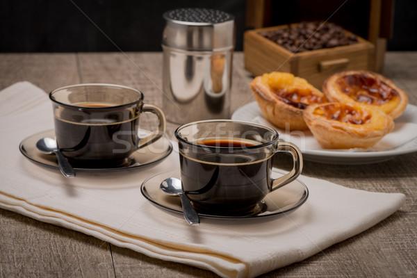 Crema pasticcera caffè caffè nero tavolo in legno texture colazione Foto d'archivio © homydesign