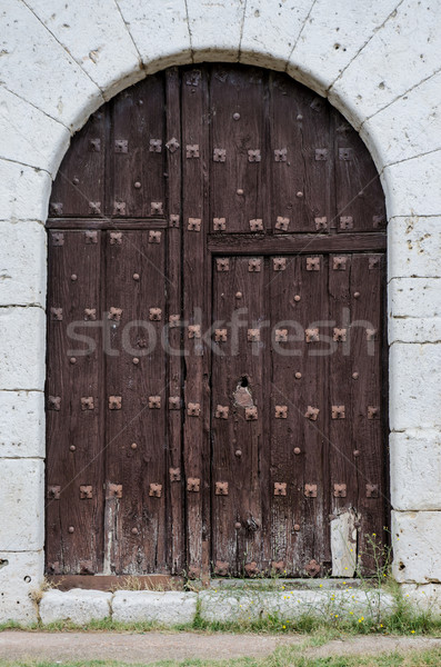 Eski ahşap kapı ortaçağ çağ inşaat Stok fotoğraf © homydesign
